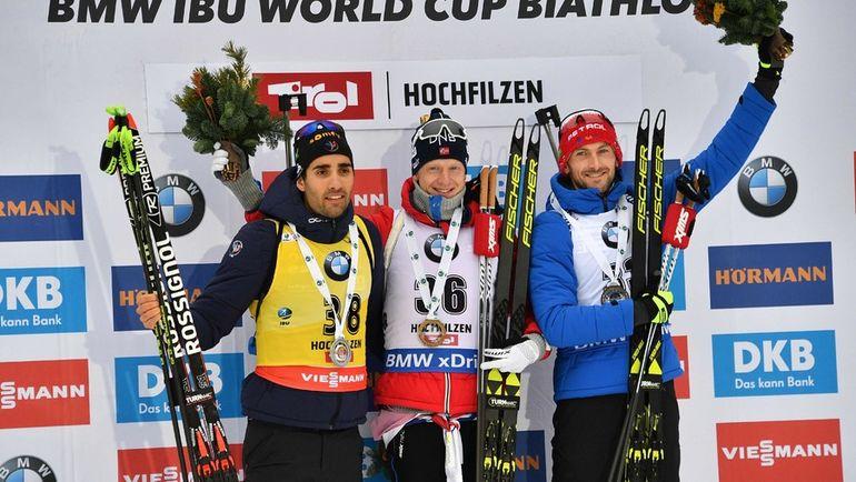 Сегодня. Хохфильцен. Тройка призеров: Йоханнес БЕ (в центре), Мартен ФУРКАД (слева) и Яков ФАК. Фото AFP
