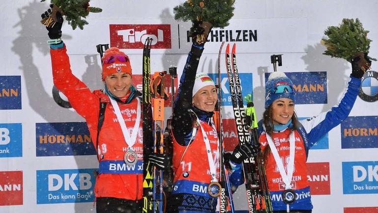 Сегодня. Хохфильцен. Тройка призеров - Дарья ДОМРАЧЕВА (в центре), Анастасия КУЗЬМИНА (слева) и Доротея ВИРЕР. Фото AFP