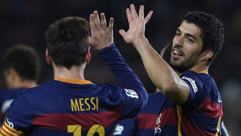 """Нападающие """"Барселоны"""" Лионель МЕССИ (слева) и Луис СУАРЕС. Фото AFP"""