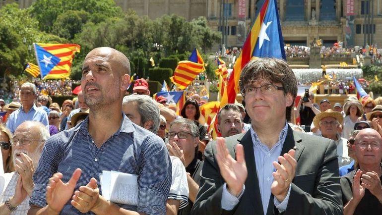 Хосеп ГВАРДЬОЛА и Карлес ПУЧДЕМОН, бывший президент Каталонии. Фото Еestatic.com