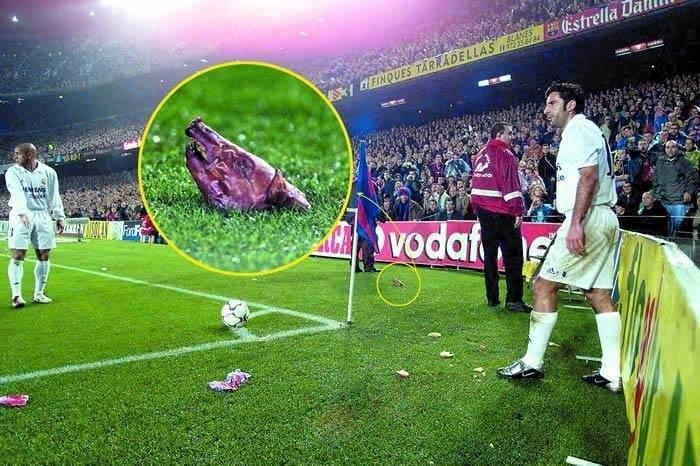 2002-й год. Свиная голова прилетела под ноги Луишу ФИГУ.