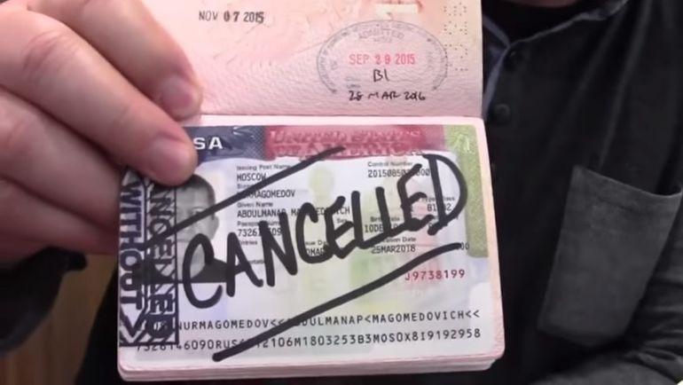 Аннулированная виза США в загранпаспорте Абдулманапа НУРМАГОМЕДОВА. Фото 8news.ru.
