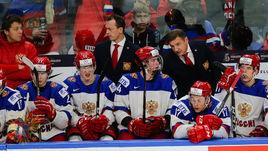 Сегодня. Баффало. Чехия - Россия - 5:4. Валерий БРАГИН (во втором ряду справа) подчеркнул, что ждет от своих игроков большего.