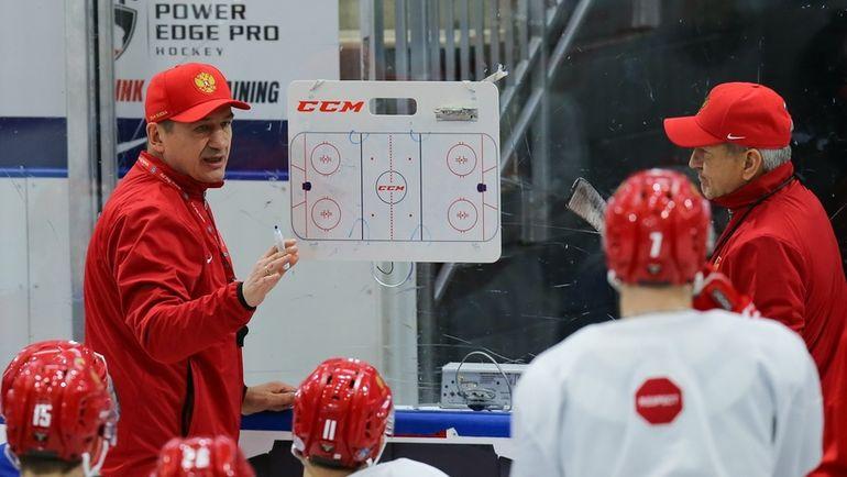 Тренировка сборной России перед матчем со Швейцарией. Фото ФХР/fhr.ru