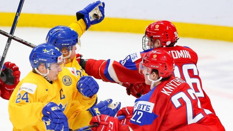 Сегодня. Баффало. Россия - Швеция - 3:4 Б. Россияне не смогли занять первое место в группе для чего требовалось победить шведов с разностью в две шайбы. Фото ФХР