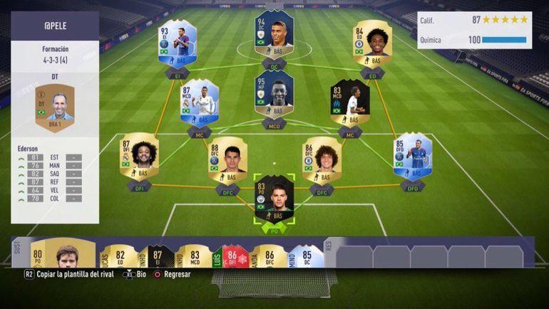 Состав Пеле в FIFA 18.