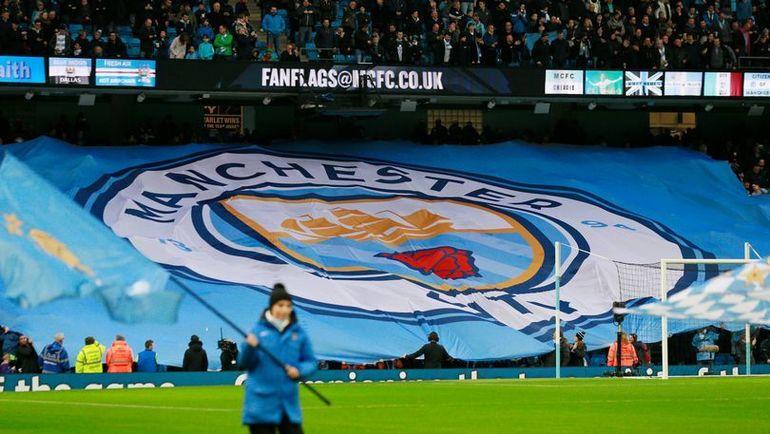 "Флаг ""Манчестер Сити"" на стадионе. Фото REUTERS"
