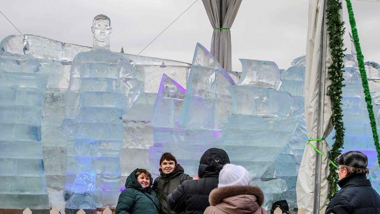 Ледяной Криштиану Роналду в Москве вызвал удивление у пользователей интернета. Фото AFP