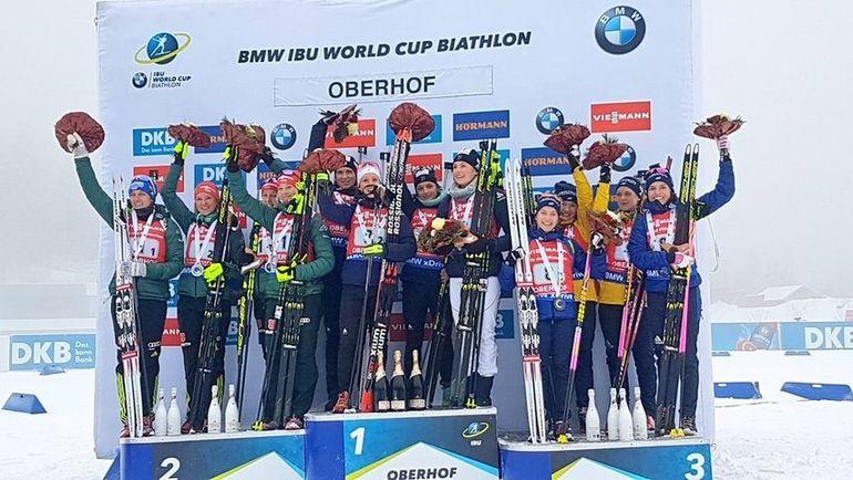 Германия, Франция и Швеция заняли места на пьедестале в эстафете, не пустив в медали Россию. Фото IBU