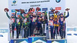Германия, Франция и Швеция заняли места на пьедестале в эстафете, не пустив в медали Россию.