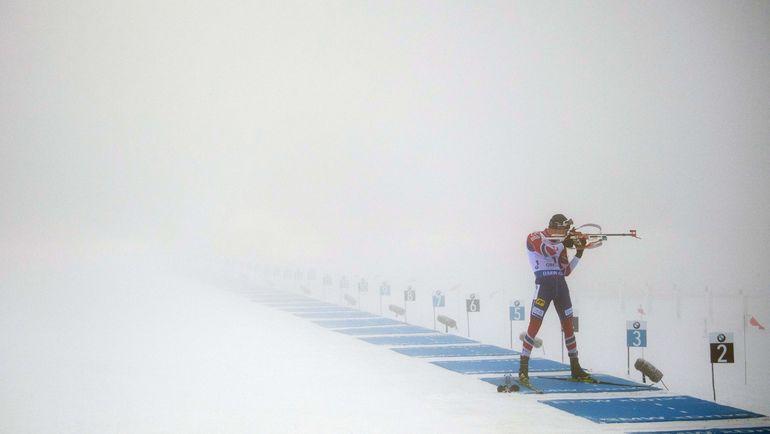 Сегодня. Оберхоф. Тарьей БЕ в тумане на огневом рубеже. Фото AFP