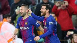 """Сегодня. Барселона. """"Барселона"""" - """"Леванте"""" - 3:0. 12-я минута. Жорди АЛЬБА и Лионель МЕССИ празднуют первый гол каталонцев."""