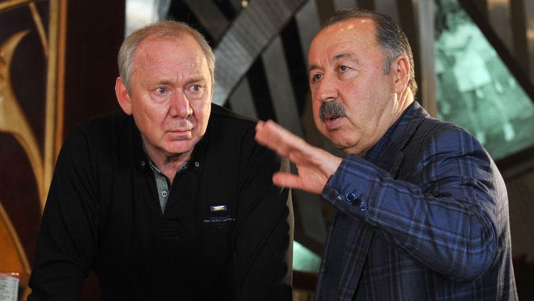 """Валерий ГАЗЗАЕВ (справа) и Олег РОМАНЦЕВ. Фото Александр ФЕДОРОВ , """"СЭ"""""""