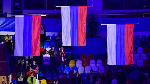 Болельщики могут проносить российские флаги на трибуны во время Игр-2018. Фото AFP