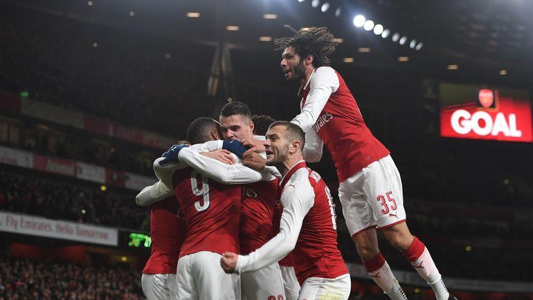 """Игроки """"Арсенала"""" празднуют забитый мяч. Фото twitter.com/Arsenal"""