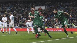 "Игроки ""Леганеса"" празднуют гол в ворота ""Реала""."