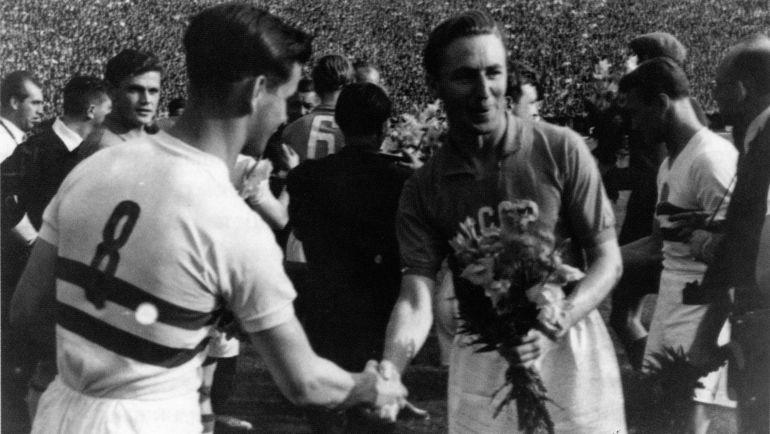 Мельбурн-1956. Алексей Парамонов и Шандор Кочиш перед матчем СССР - Венгрия