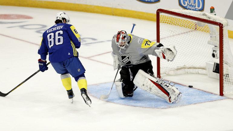 Воскресенье. Тампа. Никита КУЧЕРОВ оформил хет-трик в Матче звезд НХЛ. Фото AFP