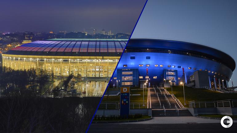 """Стадион """"Лужники"""" и стадион """"Санкт-Петербург""""."""