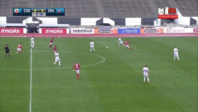 Уже на 1-й минуте Максимович далеко отпустил от себя мяч, позволив Каранге отнять его.