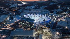 Вид на стадион, где будут проходить церемонии открытия и закрытия Олимпийских и Паралимпийских игр.