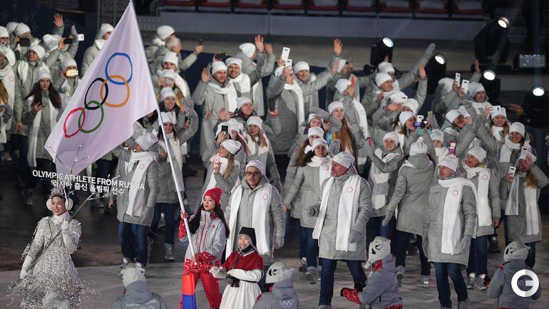 Сегодня. Пхенчхан. Сборная Олимпийских атлетов из России на открытии Олимпиады.