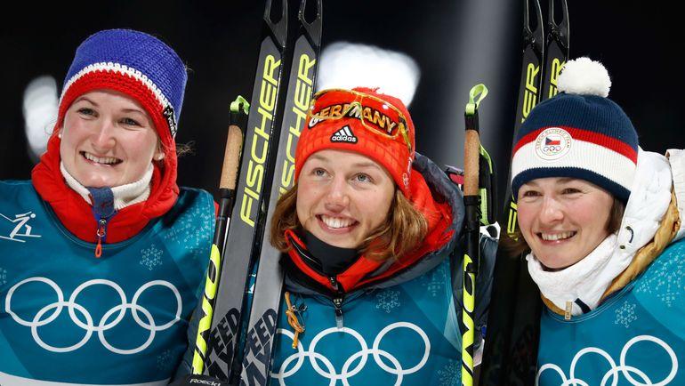 Марта ОЛЬСБЮ, Лаура ДАЛЬМАЙЕР и Вероника ВИТКОВА. Фото AFP