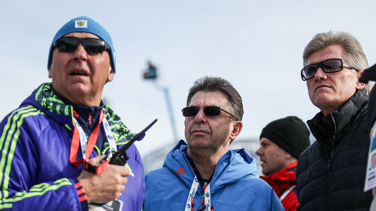 Глава Союза биатлонистов России Александр КРАВЦОВ (в центре). Фото Андрей АНОСОВ, СБР