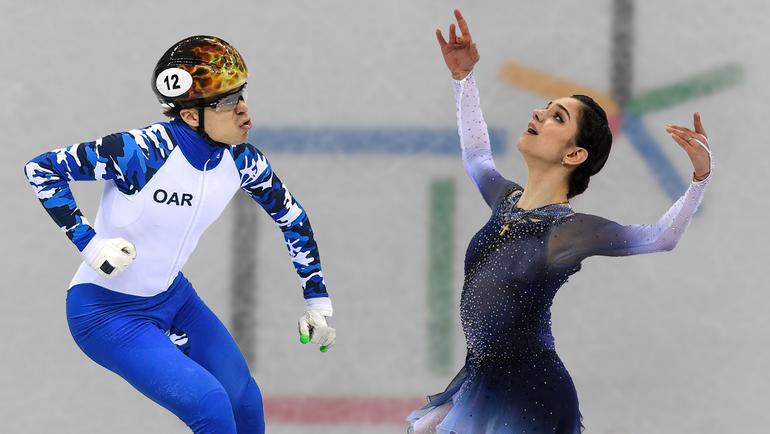 Евгения МЕДВЕДЕВА (справа) и Семен ЕЛИСТРАТОВ. Две главные звезды России на Олимпиаде в эти выходные.