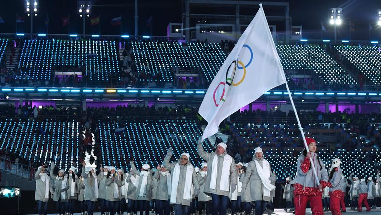 9 февраля. Пхенчхан. Из-за допингового скандала российская делегация была вынуждена на церемонии открытия Игр-2018 идти под олимпийским флагом. Фото AFP