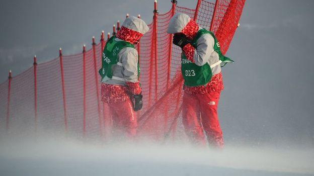 Ураган в Корее. Из-за ветра закрыли олимпийский парк и отменили биатлон
