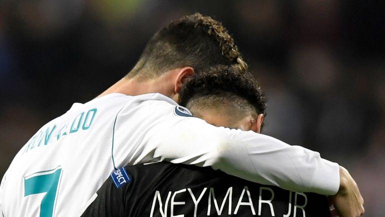 """Среда. Мадрид. """"Реал"""" - """"ПСЖ"""" - 3:1. КРИШТИАНУ РОНАЛДУ и НЕЙМАР. Фото AFP"""