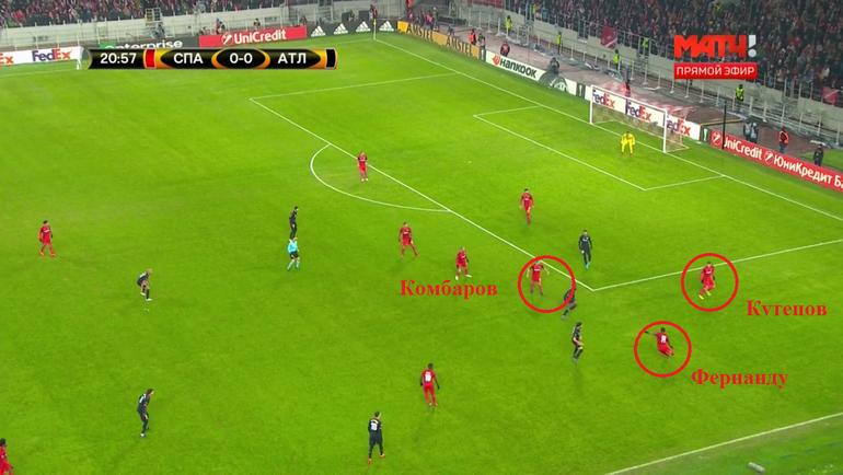 Фернандо, находясь под прессингом, выносит мяч вперед. Сразу же после этого красно-белые начинают перестраиваться
