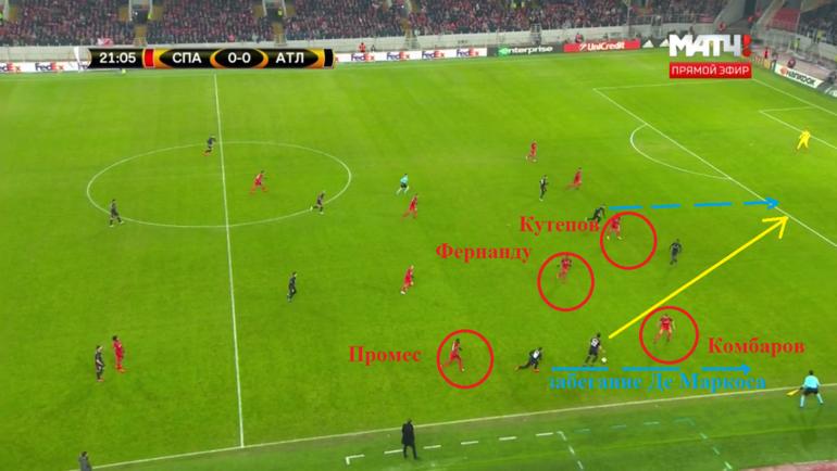 Восемь секунд спустя: Фернандо уже в опорной зоне, Промес - высоко на фланге, а Комбаров - против двух соперников