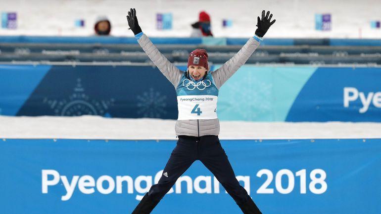 Суббота. Пхенчхан. Анастасия КУЗЬМИНА празднует победу в масс-старте. Фото Reuters
