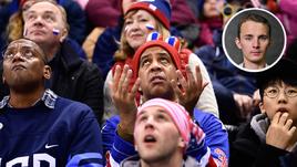 Суббота. Пхенчхан. Россия - США - 4:0. Болельщик американцев в недоумении.