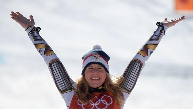 17 февраля. Пхенчхан. Эстер ЛЕДЕЧКА - олимпийская чемпионка в горнолыжном супергиганте. Фото AFP