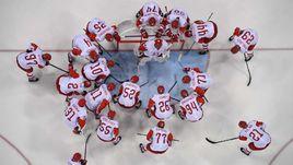 Сборная России перед полуфинальным матчем Олимпиады с Чехией.