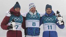 Суббота. Пхенчхан. Александр БОЛЬШУНОВ (слева), Иво НИСКАНЕН (в центре) и Андрей ЛАРЬКОВ.