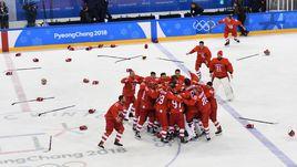 Сегодня. Пхенчхан. Россия - Германия - 4:3 ОТ. Радость российских хоккеистов.