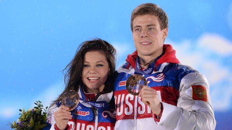 Бронзовые призеры Игр-2014 в Сочи Елена ИЛЬИНЫХ и Никита КАЦАЛАПОВ. Фото AFP