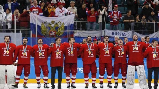 МОК не накажет Россию за спетый хоккеистами гимн. Фото Reuters