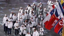 Российская делегация на церемонии закрытия Олимпиады-2018.