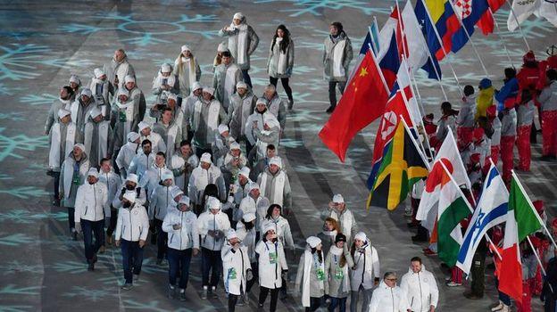 Российские спортсмены на церемонии закрытия Олимпийских игр. Фото Reuters