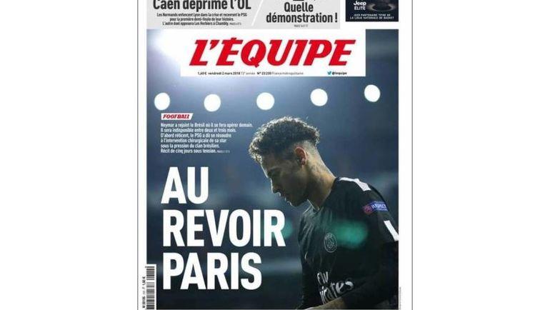"""""""Прощай, Париж"""" - обложка L'Equipe."""