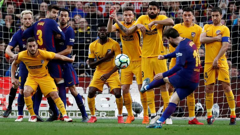 """Сегодня. Барселона. """"Барселона"""" - """"Атлетико"""" - 1:0. 26-я минута. Голевой удар Лионеля МЕССИ со штрафного. Фото REUTERS"""