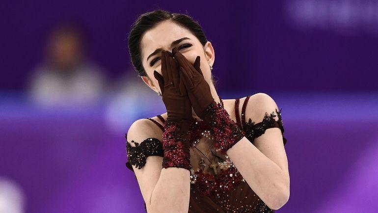 23 февраля. Пхенчхан. Евгения МЕДВЕДЕВА после проката олимпийской произвольной программы. Фото AFP