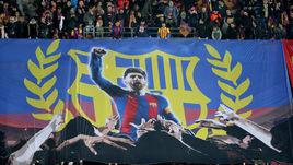 """Среда. Барселона. """"Барселона"""" - """"Челси"""" - 3:0. Лионель Месси на баннере фанатов каталонской команды."""