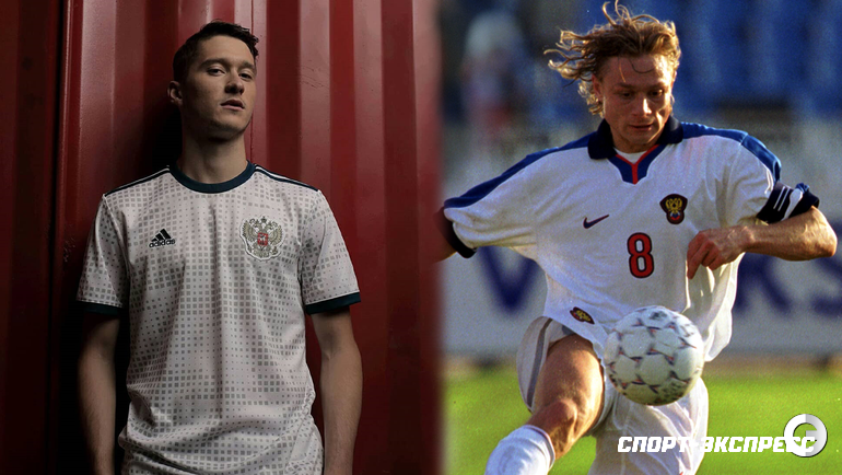 Футболисты сборной России разных поколений: Алексей МИРАНЧУК и Валерий КАРПИН.