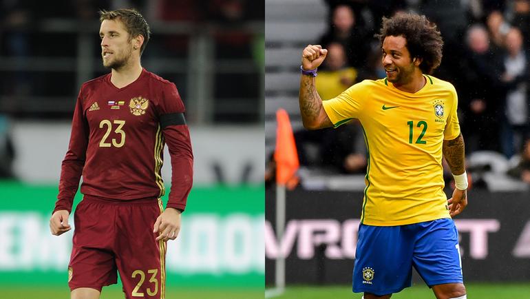 Защитники сборных России и Бразилии Дмитрий КОМБАРОВ и МАРСЕЛУ.